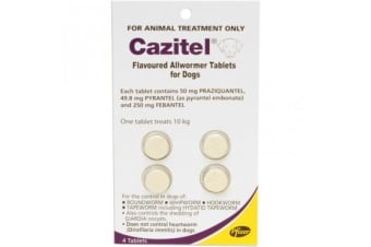 Cazitel Allwormer Tablets for Dogs up to 10 kgs - 4 Tablets Pet Worming Protection