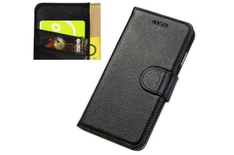For iPhone 8 7 Wallet Case Fashion Cowhide Durable Genuine Leather Cover Black