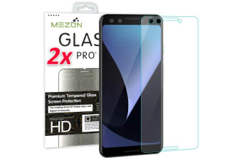 [2 Pack] Google Pixel 3 Tempered Glass Crystal Clear Premium 9H HD Screen Protector by MEZON – Case Friendly, Shock Absorption (Pixel 3, 9H)