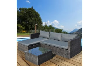 Malibu 3pc Outdoor Sofa Furniture Set with Chaise - Grey