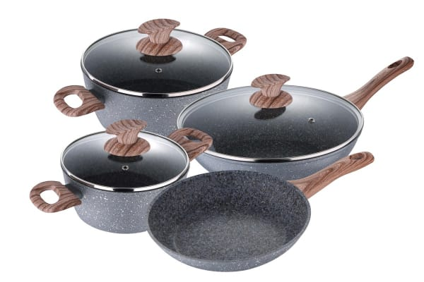 Bergner 4 Piece Granito Cookware Set with 2 x Casserole & 2 x Frypan (CWGRAAL4PCSET)