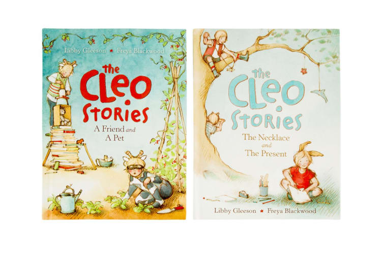 The Cleo Stories Kids/Children Book Bag w/ 2 Bed Time Story Hardcover Books Set