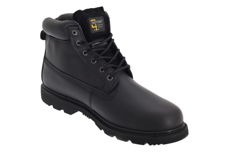 Grafters Mens 6 Eye Padded Leather Work Boots (Black) (15 UK)