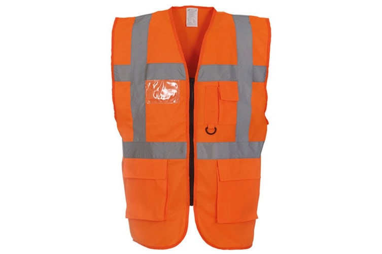 Yoko Hi-Vis Premium Executive/Manager Waistcoat / Jacket (Hi Vis Orange) (S)