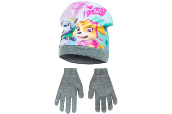 Paw Patrol Childrens Girls Pups At Play Winter Hat And Gloves Set (Grey)