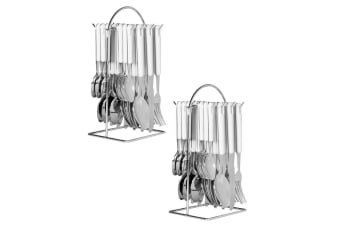 48pc Avanti Hanging Cutlery Set Stainless Steel Tea Spoon Fork Knife w  Rack WHT