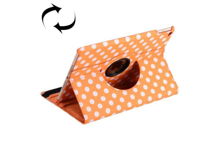 For iPad Air 2 Case  Dot Pattern Rotatable Leather Shielding Cover Orange