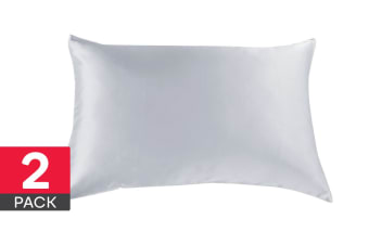 Royal Comfort Mulberry Silk Pillow Cases - 2 Pack (Silver)
