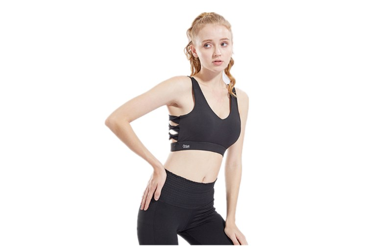 Sports Bra Shockproof Tight-Fitting Running Vest Yoga Underwear Black M