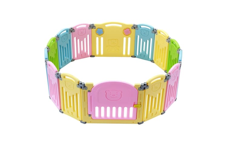 ABST 14 Sided Panel Kids Baby Playpen Interactive Baby Room Foldable Safety Gates Bear Design