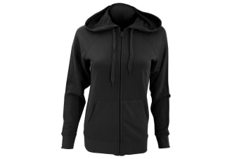 Fruit Of The Loom Ladies Fitted Lightweight Hooded Sweatshirts Jacket / Zoodie (240 GSM) (Black) (XS)