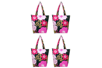 4x Sachi Insulated Thermal Cooler Shopping Bag Storage Market Tote Floral Blooms