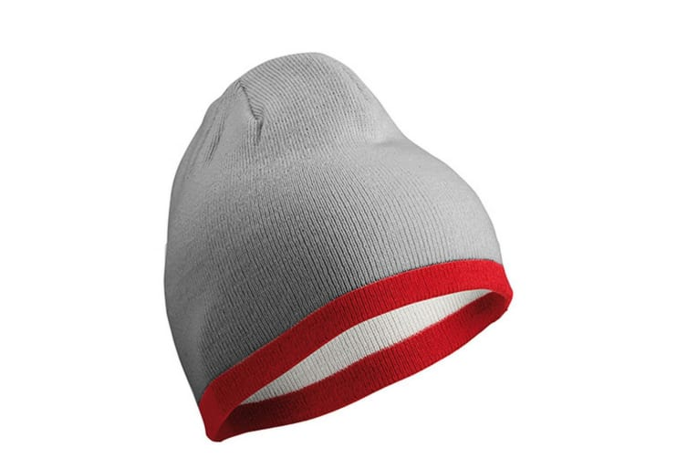 Myrtle Beach Adults Unisex Contrasting Border Beanie (Light Grey/Burgundy) (One Size)