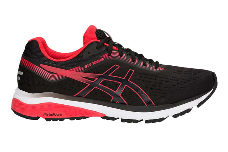 ASICS Men's GT-1000 7 Running Shoe (Black/Red Alert, Size 8.5)