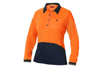 Hard Yakka Women's Koolgear Hi-Vis Long Sleeve Polo (Orange/Dark Navy, Size S)
