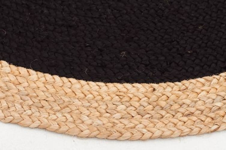 Round Jute Natural Rug Black 240x240cm