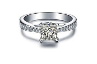 4-Prong Cubic Zirconia Sterling Silver Engagement Ring 6