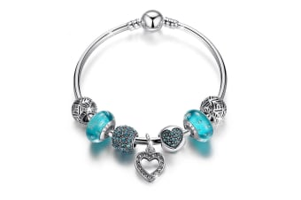 Pandora Inspired Full Set Beaded Charm Bracelet-Aquamarine