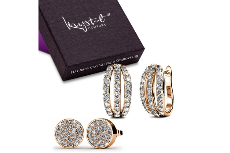 Boxed Set Of 2 Earrings Embellished with Swarovski crystals