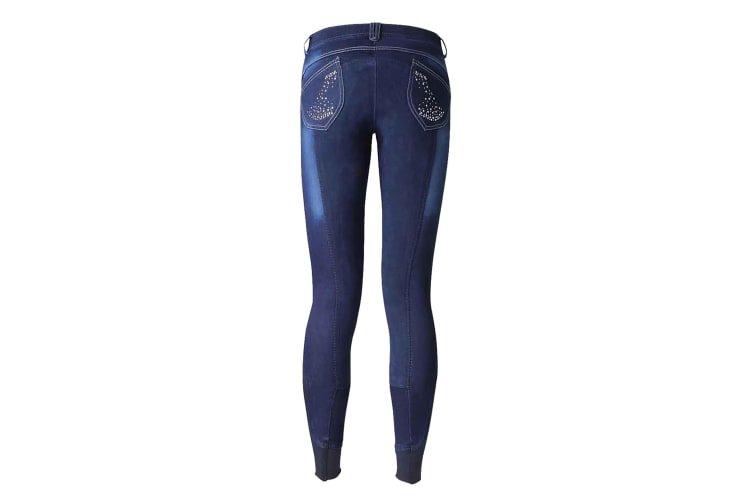 HyPERFORMANCE Womens/Ladies Denim Look Diamante Breeches (Blue) (24in)