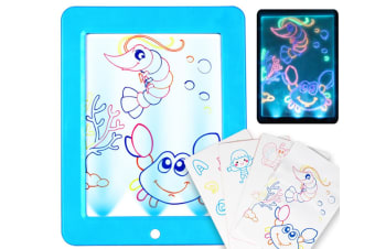 WJS LED Luminous Drawing Board Electronic 3D Stereo Fluorescent Writing Board Children Luminous Painting Board-Blue