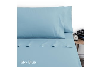 250TC Polyester Cotton Sheet Set Double Sky Blue by Artex