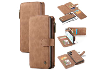 For Samsung Galaxy Note 10+ Plus Case  Wallet PU Leather Flip Cover  Brown