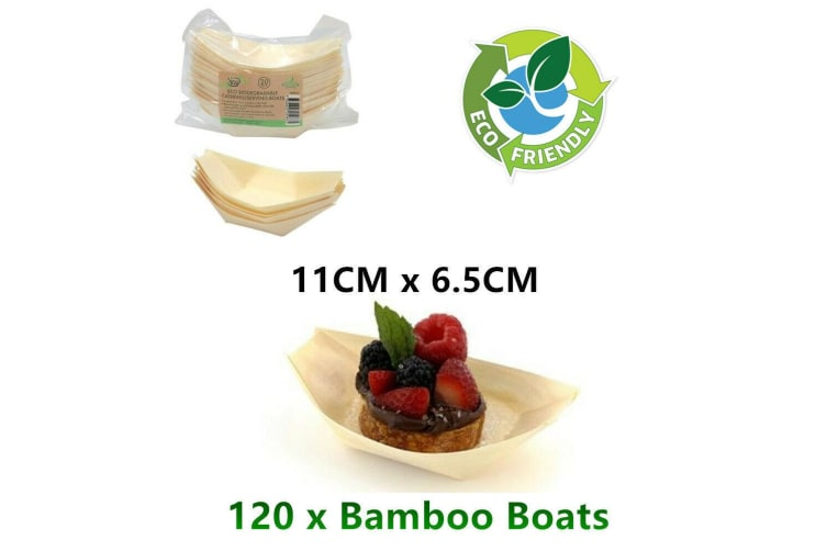 120 x Bamboo Boat Biodegradable Eco Party Catering Tray Bowl Disposable Takeaway