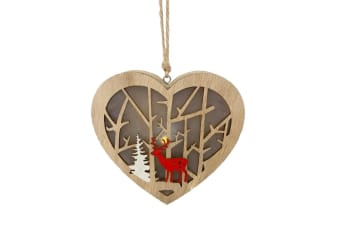 Christmas Heart Lantern With Forest Scene (Brown/Red/White) (One Size)