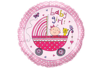 Qualatex 18 Inch Baby Boy/Girl Pram Design Circular Foil Balloon (Pink)