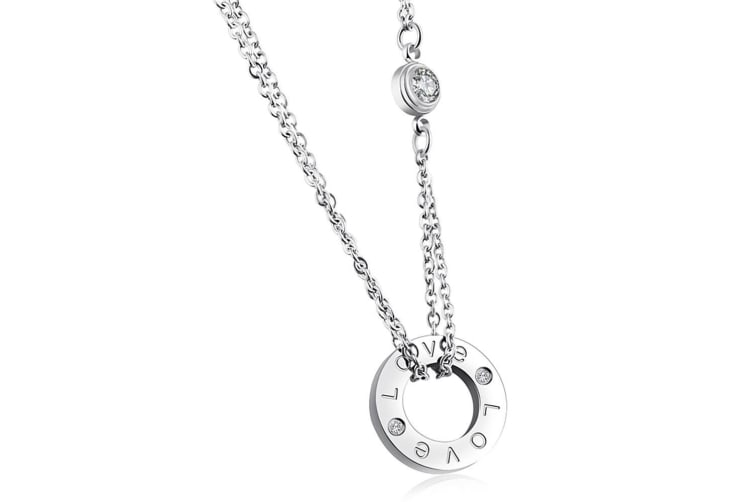 Love Bound Necklace-White Gold/Clear