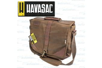 HAVASAC LEATHER TRIM LAPTOP BOOK TRAVEL SATCHEL BAG PACK SHOULDER STRAP NEW