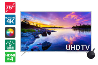 "Kogan 75"" 4K HDR LED TV (Series 8 JU8100) + Google Chromecast Ultra"