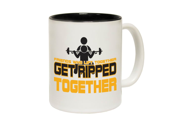 123T Funny Mugs - Friend Ripped Together - Black Coffee Cup