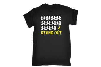 123T Funny Tee - Stand Out Basketball - (Medium Black Mens T Shirt)