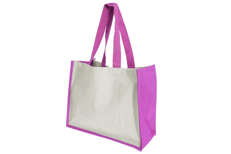 Westford Mill Printers Jute Cot Shopper Bag (21 Litres) (Fuchsia) (One Size)