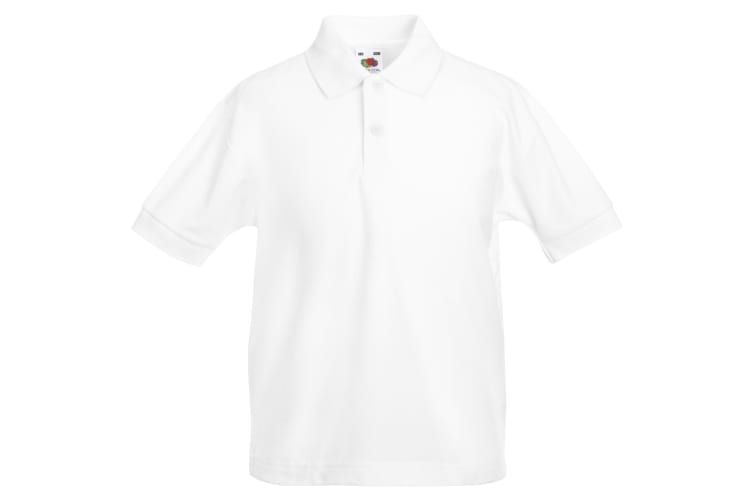 Fruit Of The Loom Childrens/Kids Unisex 65/35 Pique Polo Shirt (Pack of 2) (White) (14-15)