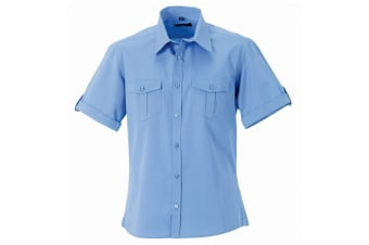 Russell Collection Mens Short / Roll-Sleeve Work Shirt (Blue) (4XL)