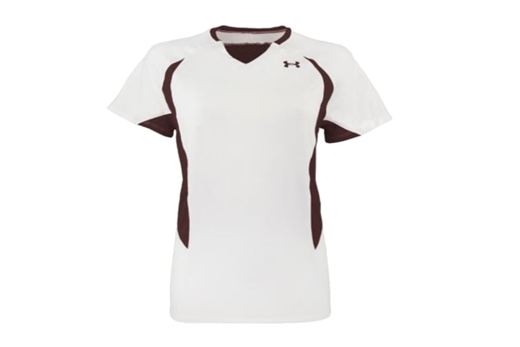 Under Armour Women's Power Performance Jersey Tank Top (Maroon/White, Size S)