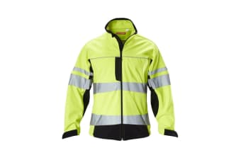 Hard Yakka Men's Hi Vis Two-Tone Long Sleeve Soft Shell Jacket (Yellow/Navy)