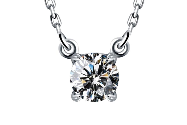 The Solitaire Necklace w/Swarovski Crystals-White Gold/Clear