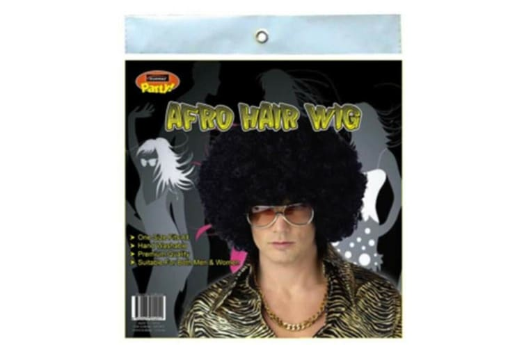 Black Afro Curly Wig Costume Cosplay World Cup Party Fancy Dress Disco 70s 80s Hippie