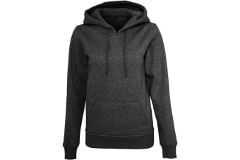 Build Your Brand Womens/Ladies Heavy Pullover Hoodie (Black) (L)
