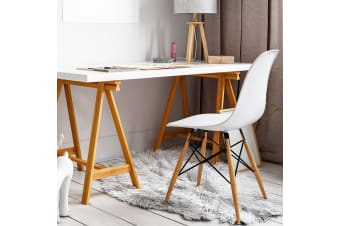 Artiss Retro Replica Eames DSW Dining Chairs Office Chair Cafe Kitchen White x4