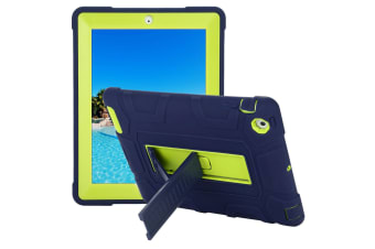 Kids Shockproof Case Heavy Duty Tough Kick Stand Cover For iPad Air 2-Type5-NavyGreen