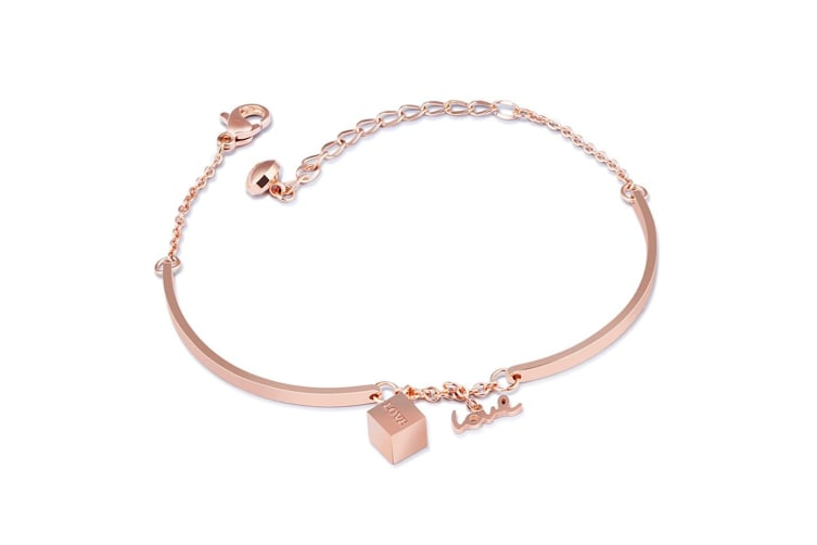 Cubic Love Charm Bracelet-Rose Gold