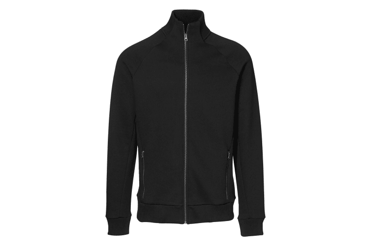 ID Mens Fitted Full Zip Fleece Jacket (Black) (S)