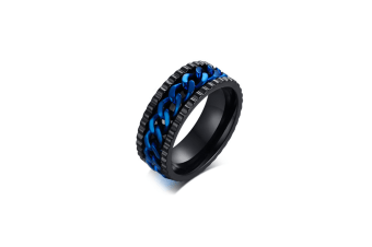 Stainless Steel Rotating Chain Ring Men Fashion Jewelry - Black+Blue 10