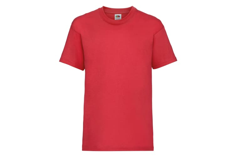 Fruit Of The Loom Childrens/Kids Unisex Valueweight Short Sleeve T-Shirt (Pack of 2) (Red) (1-2)