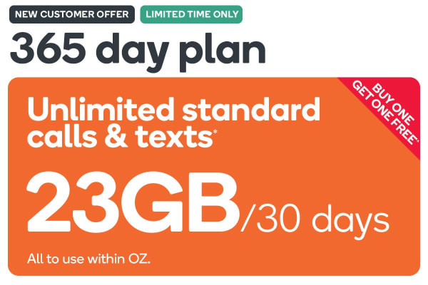 Kogan Mobile Prepaid Voucher Code: EXTRA LARGE (365 Days | 23GB Per 30 Days) - Buy One Get One Free